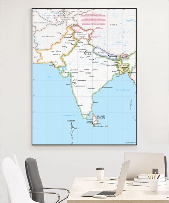 South Asia Wall Map