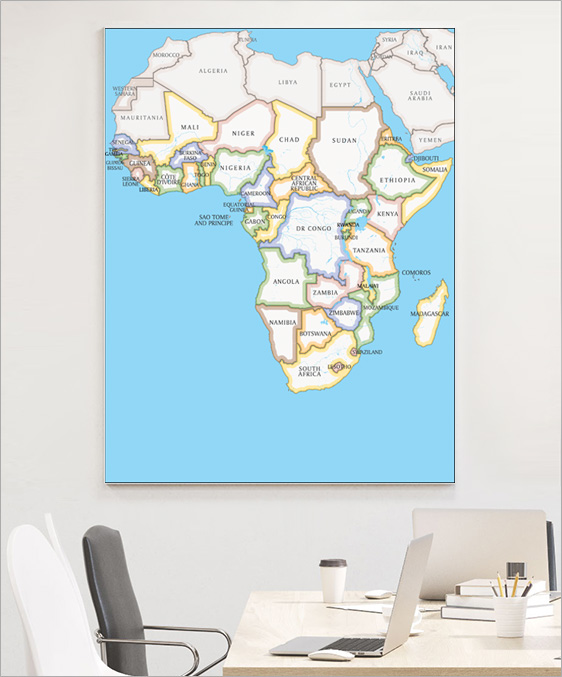Countries of Africa Wall Map