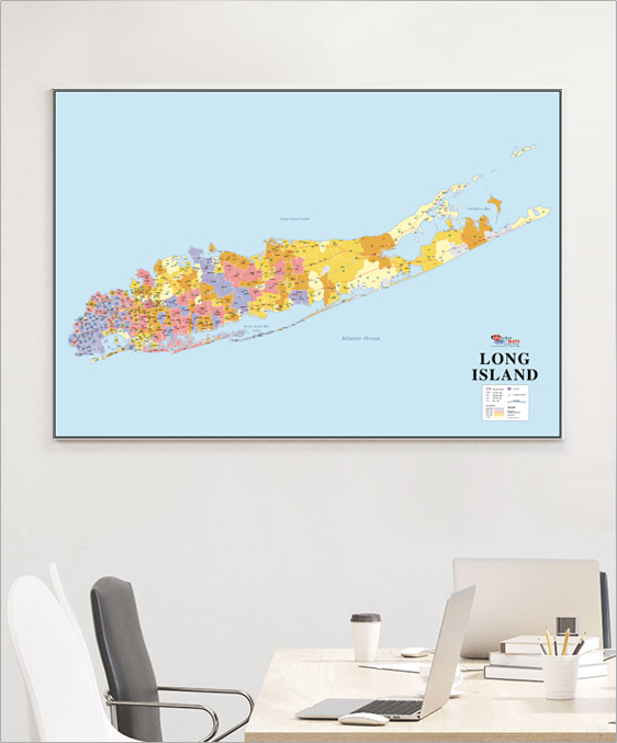 Wall Map of Long Island with ZIP Codes